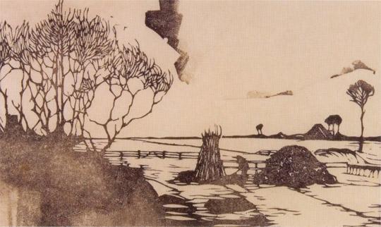 Jan Mankes, Landschap, links bomen, in het midden een takkenbos (1917)