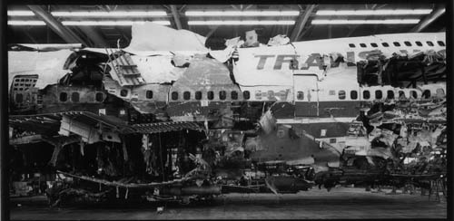 The reconstructed remains of flight TWA800